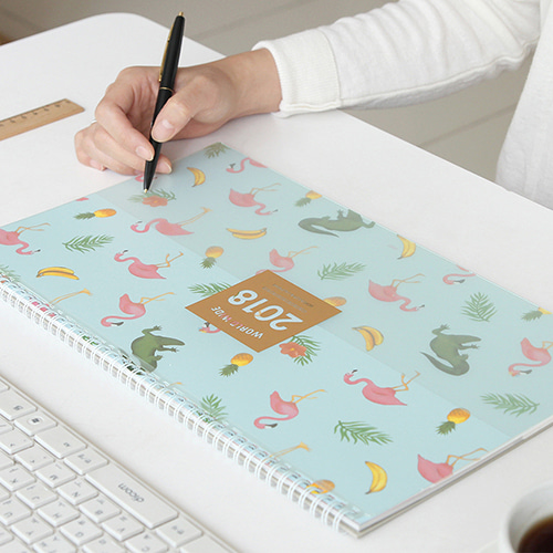 Nature And Flamingo Design Colorful World Scheduler Desk Pad 37.4*22.6cm 2018 Agenda Gift 32P Free Shipping the lovely colorful world and flamingo fashion diy a5 journal pu leather 216p 2017 students office supplies free shipping