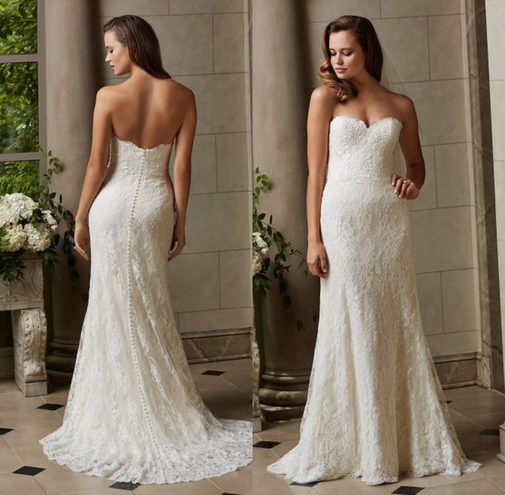 2016 Modest Lace Beach Simple Sheath Wedding Dresses Sweep