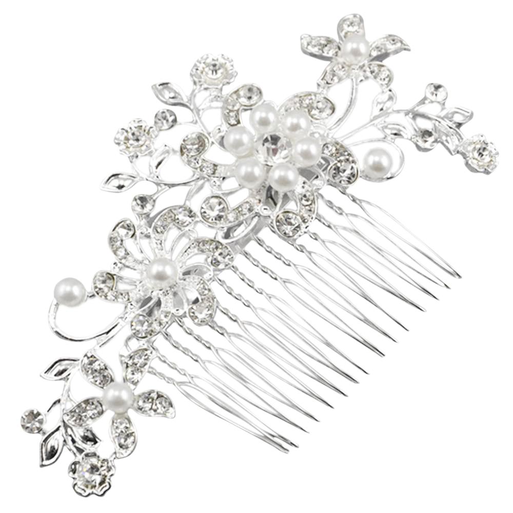 Fascinating Bridal Crystal Pearl Diamante Hair Comb Clip