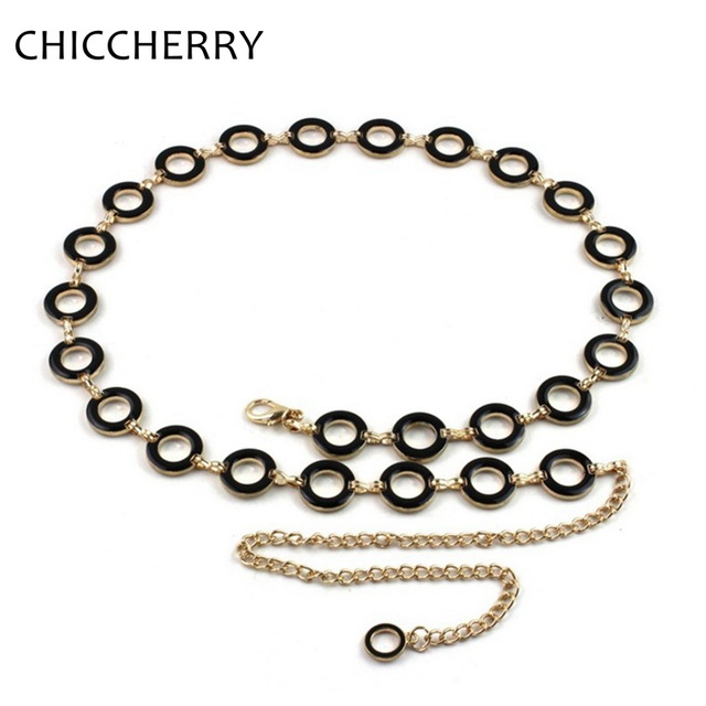 Fashion Ladies Black Gold Silver Thin Waist Metal Belts Circuar Ring Chain Belt for Women Dress Cinturon Fino Mujer New Arrival