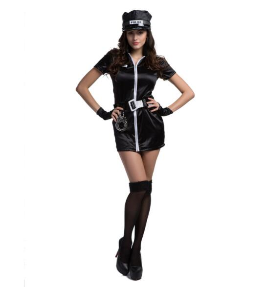 lady Halloween Officer Policewomen Cosplay Fancy Dress Outfit Women Sexy Erotic Fetish Cop Police Costume short dresses A076