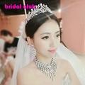 Noble Luxury Olive Shape Large Rhinestones Crystal Bridal Jewelry Sets Silver Gorgeous Wedding jewelry sets