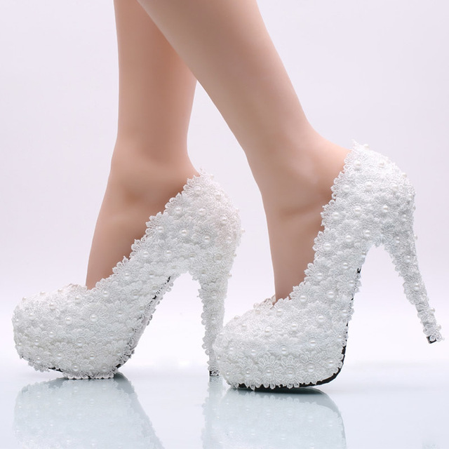 Women White Lace Pearl Wedding Shoes Bride Y Elegant Party High Heels Fashion Platform Pumps