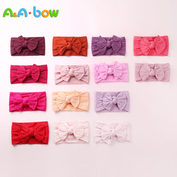 1PCS New Braid Nylon Bow Headbands,Cable Knit Solid Wide Nylon Headbands Turban, Baby Girls Head Wrap Hair Accessories 27 colors 1