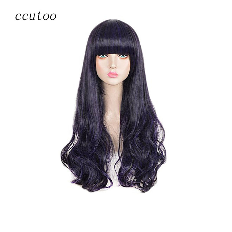 ccutoo Card Captor Sakura Long Synthetic Curly Pruple Mixed Black Cosplay Full Wig Heat Resistance fiber