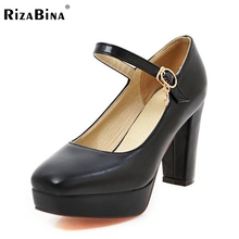 Размер 33-43 женские Ботинки Высокой Пятки Женщин Лодыжки Ремень Платформа Насосы Толщиной Круглым Носком Дамы Случайные офис Обувь