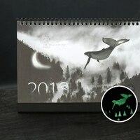1 Pcs Set Novelty 2018 Creative Luminous Calendar Large Desktop Paper Calendar Dual Daily Scheduler Table