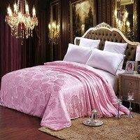 Tussah Silk Comforter for Winter Spring Autumn 220*240cm,3.5kgs King Duvet Rose Jacquard Quilt Bedding Home Textile Pink Red