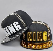 Acrylic Board Spike Studs Rivet KING Baseball Cap Women and Men Street Punk Rock Hiphop Snapback Caps