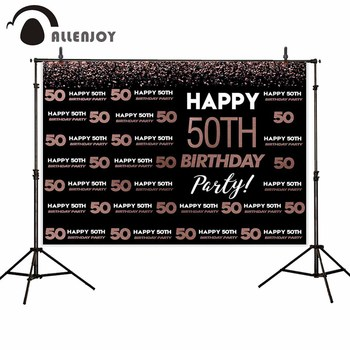 Allenjoy Logo Background Photography Rose Gold Black 50th Birthday Party Backdrop Custom Photocall Photo Photobooth Photophone image