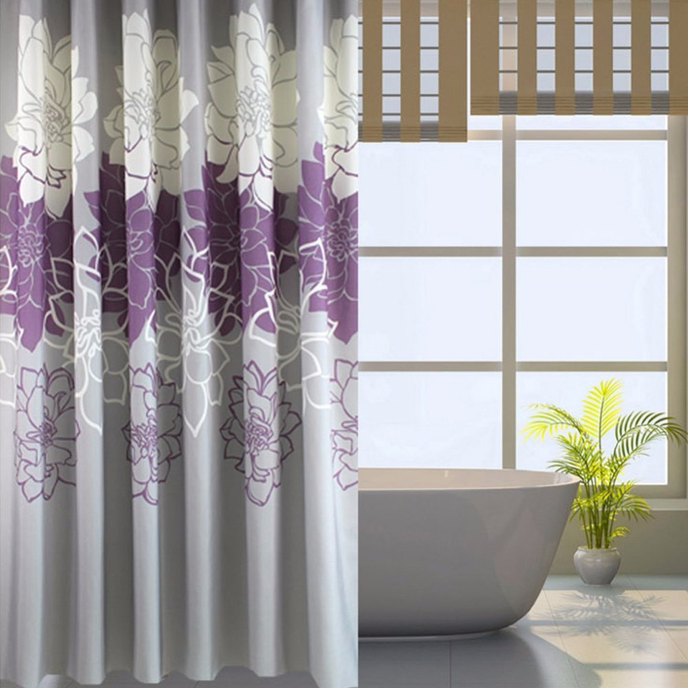 Floral Printed Shower Curtain Fabric, Waterproof Bathroom Curtains No More Mildews with Free Rings, Purple/Grey