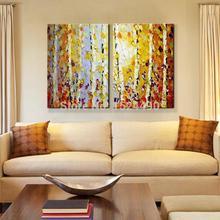 Современная ручная роспись Home Decor Живопись гостиная, холл стены в искусстве толстые Цвета дерево осенний пейзаж живопись маслом на холсте