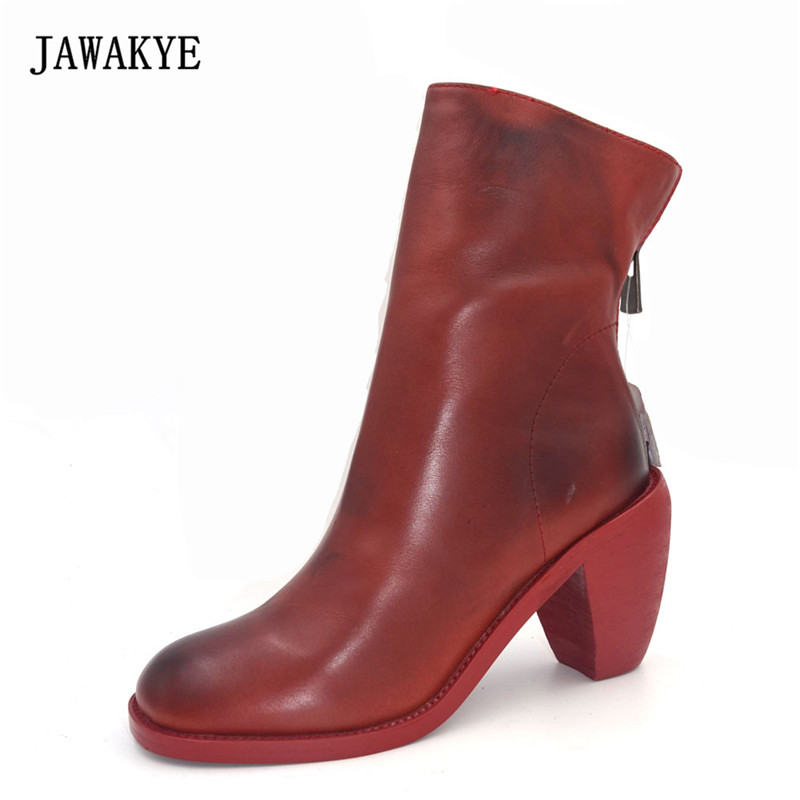 JAWAKYE Winter red white black high Heels Genuine Leather Martin Boots British retro Zipper decor Ankle Boots for Women autumn winter black white high heels knight boots real leather shoes british retro metal decor pointy toe ankle boots for women