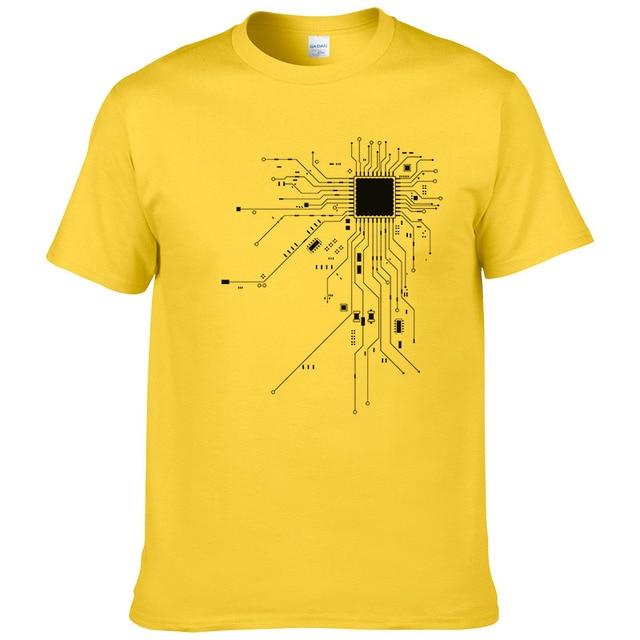 Computer CPU Core Heart T-Shirt Men's GEEK Nerd Freak Hacker PC Gamer Tee Summer Short Sleeve Cotton T Shirt Euro Size #303 1