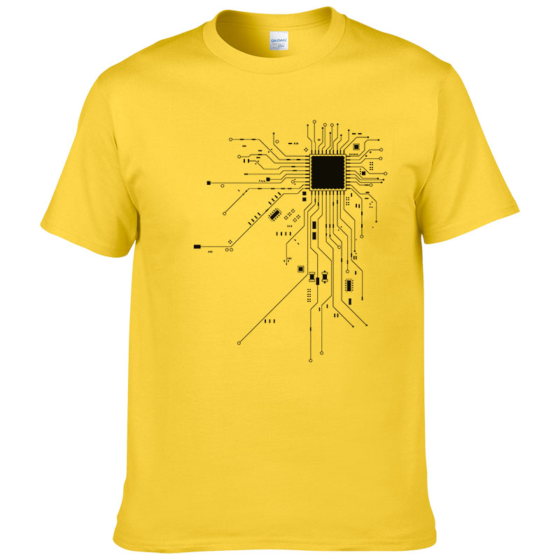 Computer CPU Core Heart T-Shirt Men's GEEK Nerd Freak Hacker PC Gamer Tee Summer Short Sleeve Cotton T Shirt Euro Size #303