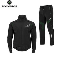 ROCKBROS Winter Cycling Set Cycling Jersey Pants Thermal Fleece Winter Men Waterproof Reflective Jackets Cycling Winter