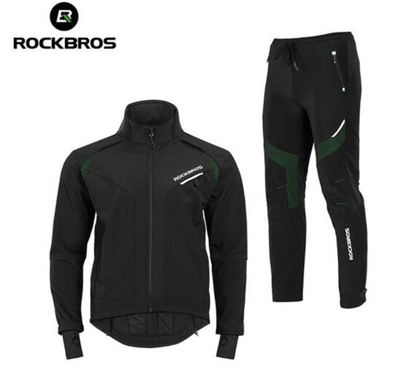 ROCKBROS Winter Cycling Set Cycling Jersey Pants Thermal Fleece Winter Men Waterproof Reflective Jackets Cycling Winter Jersey S paladinsport men s skull pattern long sleeved cycling jersey pants set black red size xl