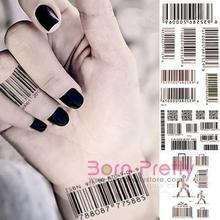 DIY Tattoo Decals Waterproof Barcode Hand Neck Stickers