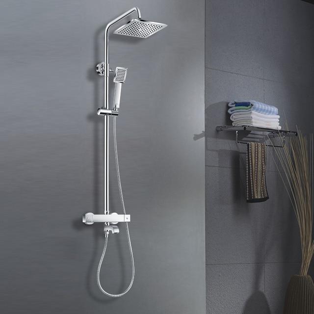 Double Shower Head Mixer Shower Brass Chrome Bathroom