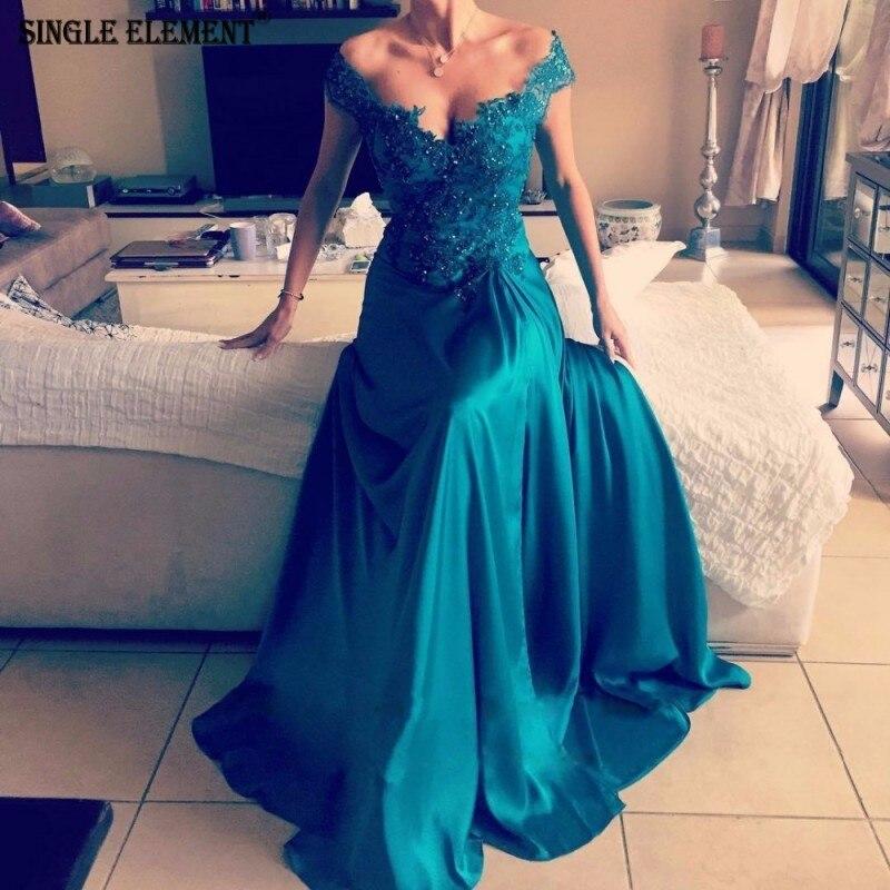 SINGLE ELEMENT Green Prom Dress Off Shoulder Formal Dress abiye gece elbises(China)