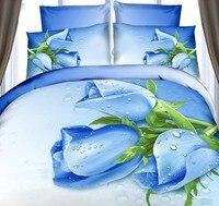 3D Blue rose duvet cover bedding set flower floral bedspreads fitted cotton bed sheet super king size full double quilt 5pcs