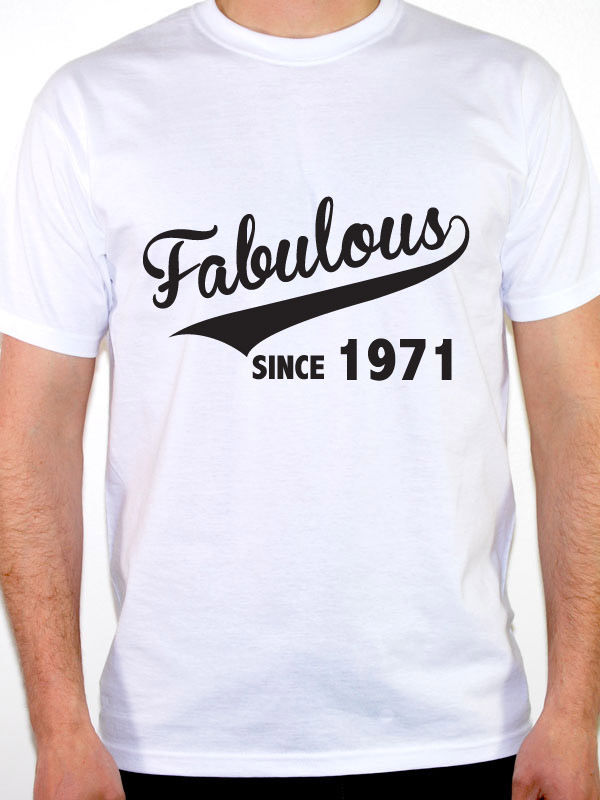 Make Your Own Logo Retro Shirts Crew Neck Compression Fabulous Since 1971 Birth Year Birthday T Shirts For Men