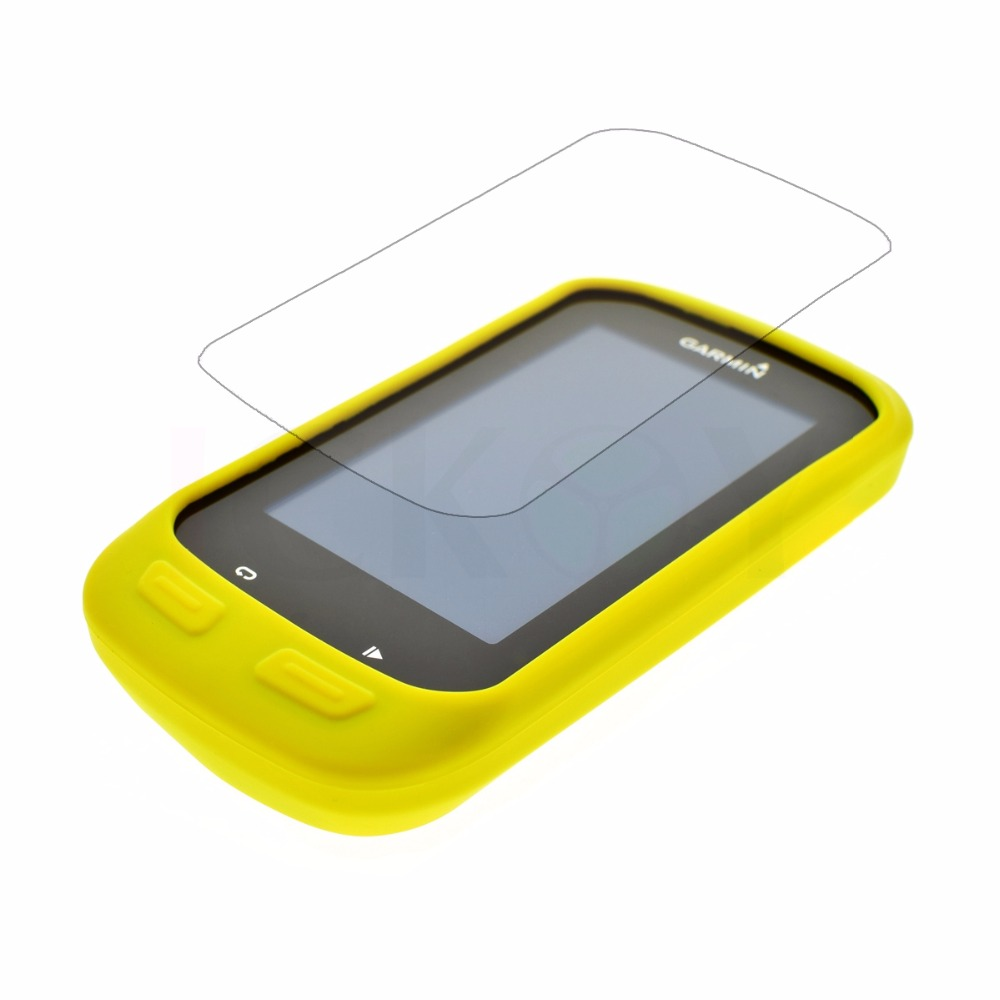 Outdoor Bike Bicycle Cycling Silicone Rubber Yellow Skin Case + LCD Screen Cover Protector For Garmin GPS Edge 1000