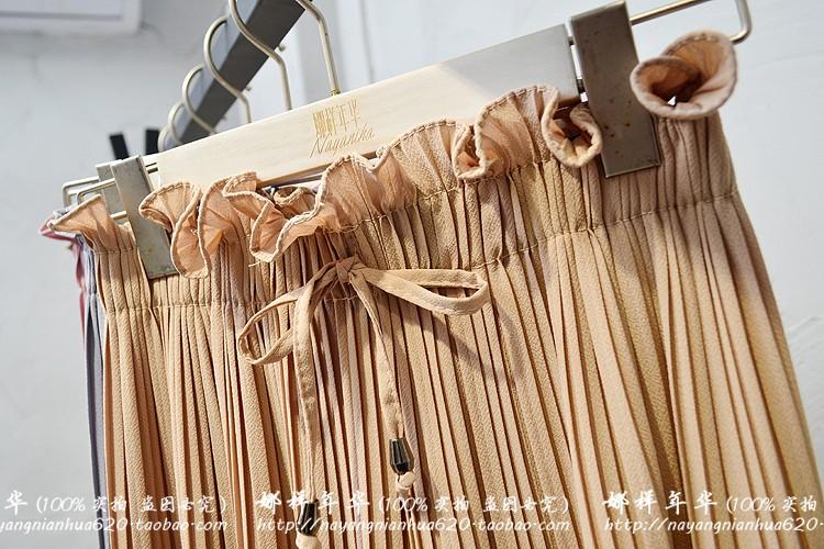 2019 Summer High Waist Lace Up Waist Pleated Pants Women Loose Wide Leg Chiffon Pants Lady Lace Up Waist Ankle Length Pants 49