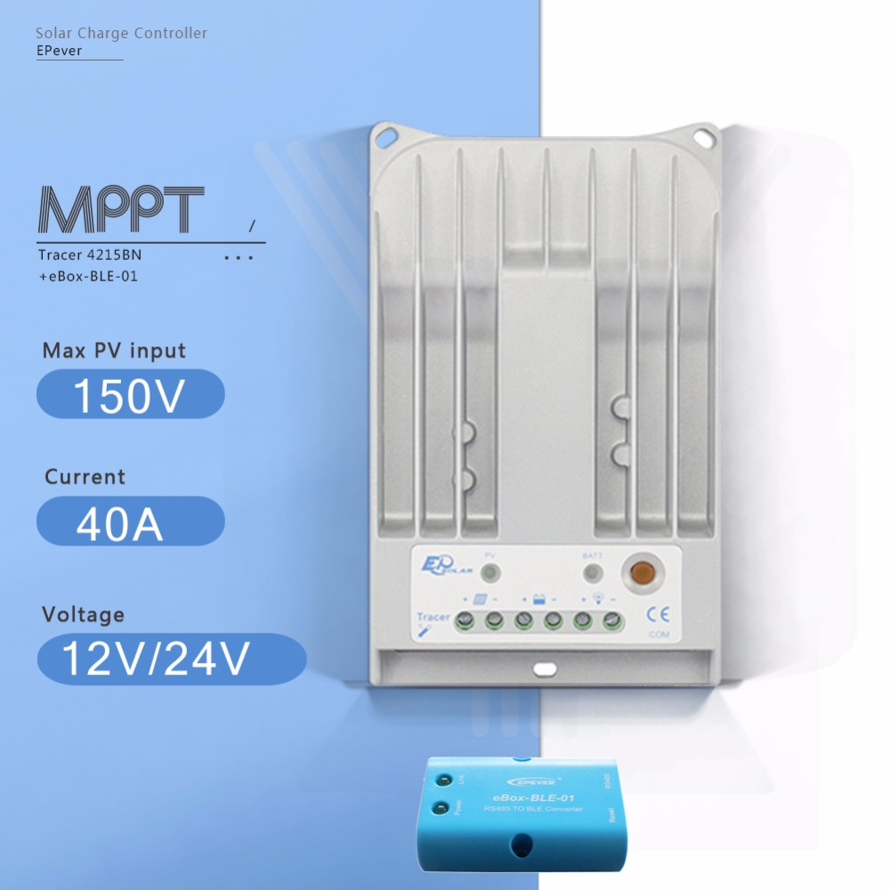 Tracer 4215BN with EBOX-BLE 40A MPPT Solar Charge Controller 12V 24V Auto Solar Panel Battery Charge Regulator and PV Regulator mppt 10a solar charge controller epever10a mppt solar controller 150v pv battery panel regulator 12v 24vdc aotu solar charger