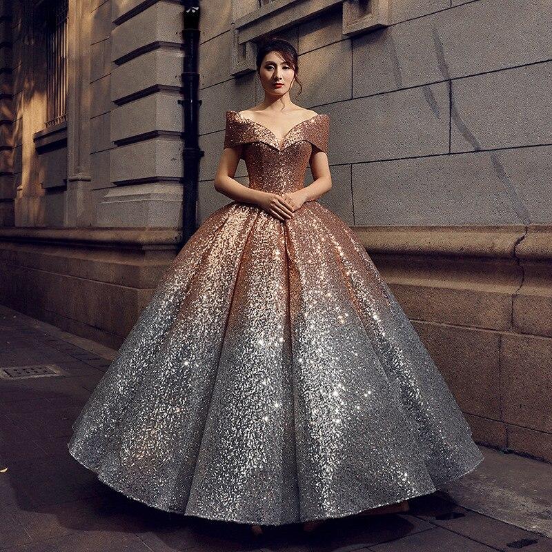 Sparkly Prata Ouro Ombre Lantejoula Quinceanera Vestidos de 15 anos Masquerade Vestidos de Baile Fora Do Ombro Com Decote Em V Doce 16 Vestido 2019