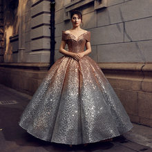 Sparkly Silver Ombre Gold Sequin Quinceanera Dresses for 15 years Masquerade Ball Gowns Off Shoulder V-Neck Sweet 16 Dress 2019(China)