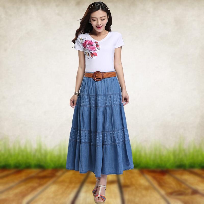 New 2020 Spring Summer Large Size Denim Long Skirt Female High Waist Skirt Girls Women Vintage Skirt N656
