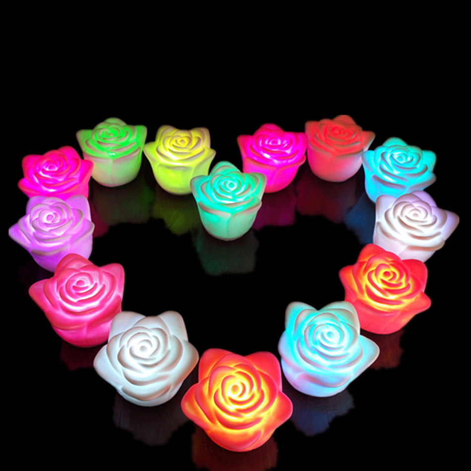 1 Pc Rose Shape Flickering Led Light Candle With Battery Change Color For Home Parties Room Votive Birthday Decoration
