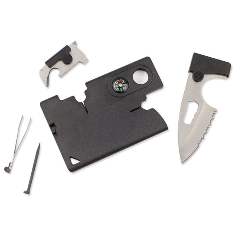 2019 Credit Card Companion with Lens/Compass Survival 10-In-One Tool EDC Pocket Knife Military Molle Multi tools Outdoor tools(China)