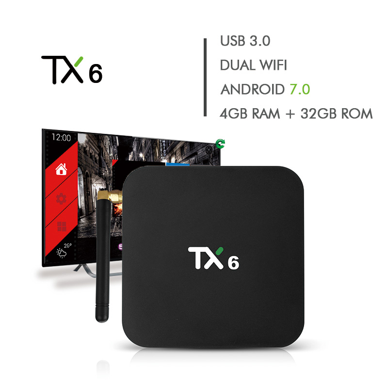 TX6 Android 7 1 TV BOX 4G32G Allwinner Quad core 2 4G 5G Dual Wifi BT