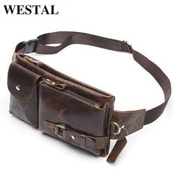 WESTAL جلد طبيعي الخصر حزم الرجال الخصر أكياس حزمة مراوح حقيبة بحزام الهاتف حقائب السفر الخصر حزمة الذكور صغيرة الخصر حقيبة جلدية