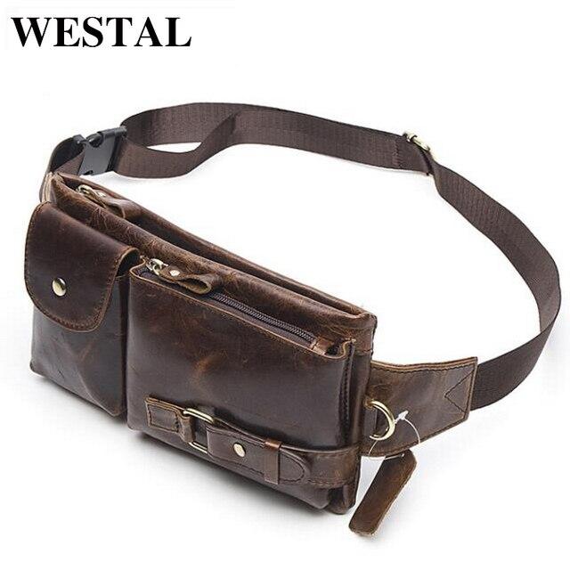 WESTAL Genuína Cintura De Couro Embala Bloco de Fanny Belt Bag Bolsa de Telefone Sacos de Viagem Pacote de Cintura Macho Pequeno Saco Da Cintura de Couro bolsa