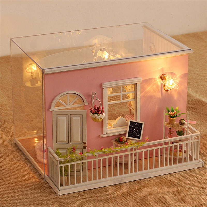 DIY House Miniature Kit Dollhouse Creative Room with Furniture LED Glass Ball Voice Control Switch for Romantic Kids Gift