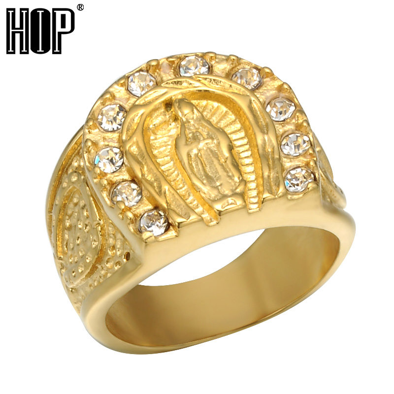 8656a4e148 US $3.64 27% OFF|HIP Hop AAA Cubic Zircon Lucky Goddess Male Ring Iced Out  Bling IP Gold Filled Titanium Patron Saint Rings for Men Jewelry-in Rings  ...