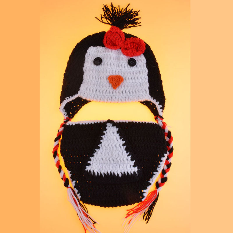 Penguin Newborn Photo Prop Crochet Pattern Baby Hat And Diaper Cover