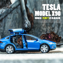 1:32 Tesla MODELX90 kids toys Car model Limited sale Pull Back Musical Flashing Model Decoration Children like the gift
