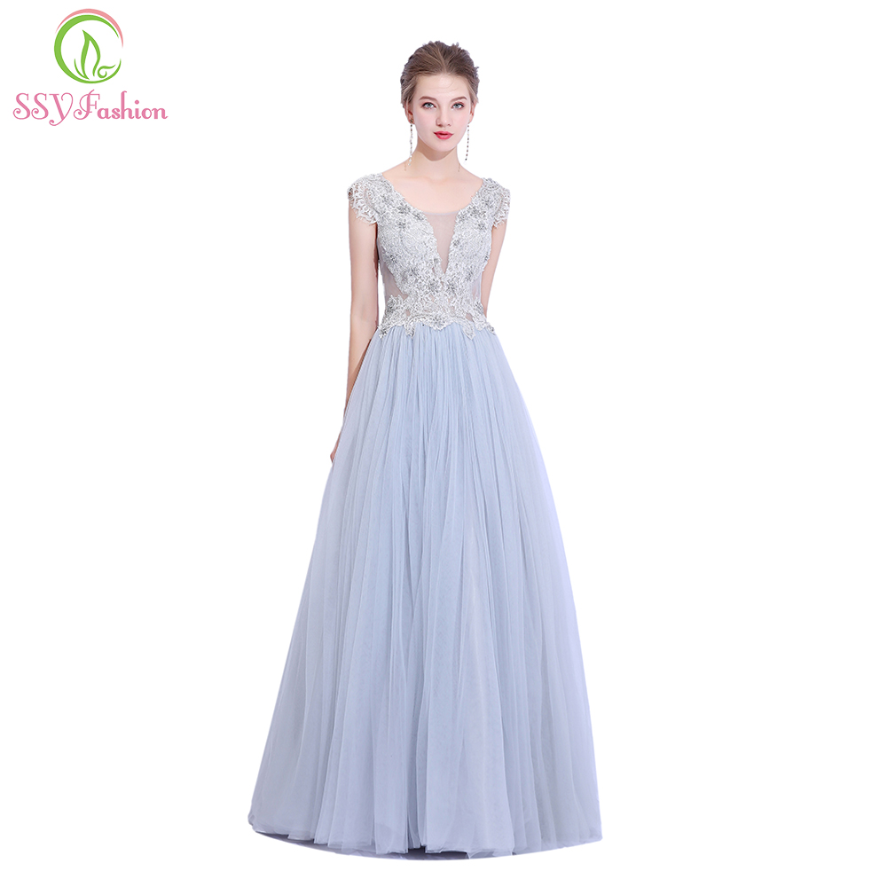 9064c39a07b Aliexpress.com   Buy SSYFashion New Banquet Elegant Grey Evening Dress Lace  Appliques Beading Floor length A line Long Prom Party Gown Robe De Soiree  from ...