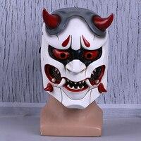 OW Genji Skin Oni Cosplay Masks Japanese Hannya Demon Devil Helmet FRP Full Face Props Party Halloween Fancy Ball Christmas
