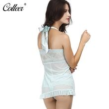 COLLEER Transparent Nightwear Halter Suit Bra Set