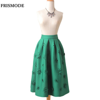 LANLAN Stereoscopic Flower Decoration Solid Mid Calf Skirt 2016 Fashion Trend Spring High Waist Back Zip