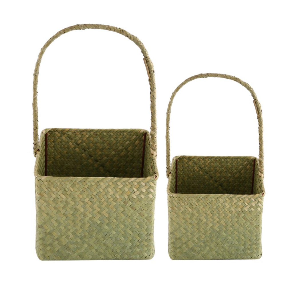 2 Pcs/Set Square Seagrass Woven Flower Basket Household Sundries ...