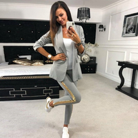 Taotrees Sequined Spliced Pants Suit Casual Outfits 2 Piece Sets Female OL Style Slim Buttonless Blazer and Trouser Suit