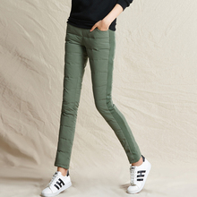 YNZZU Women Pants Trousers Winter High Waist Lace Up Outer Wear Fashion Warm Thicken Duck Down B126