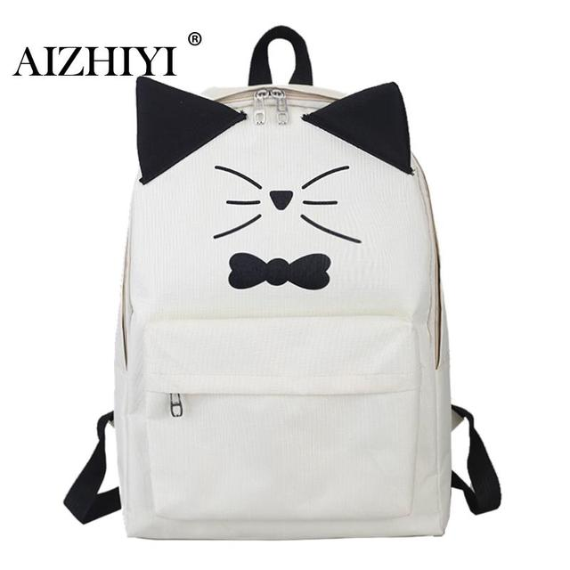 ... Female Schoolbag  Cute Cartoon Embroidery Cat Printing Backpack Canvas  Backpacks For Teenage Girls College Style Casual Backpack Sac ... 7afa63c03c
