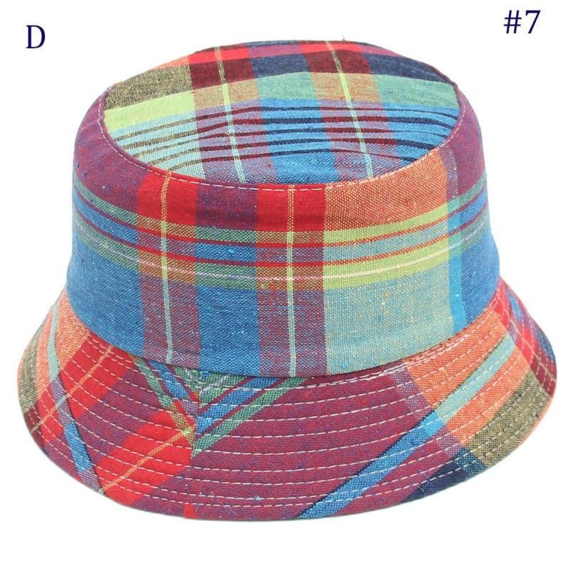 2018 hot sale Toddler Baby hat Kids Boys Girls Plaid Pattern Bucket Hats Sun Helmet Cap Mar 1